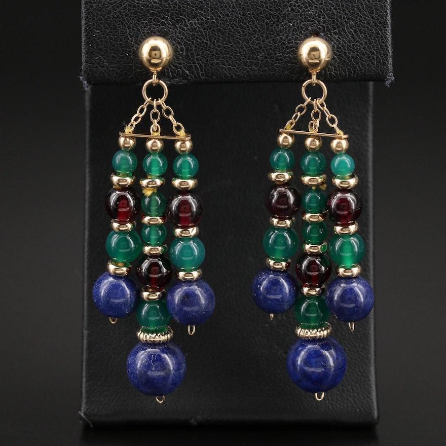 14K Chalcedony, Garnet and Lapis Lazuli Triple Drop Earrings