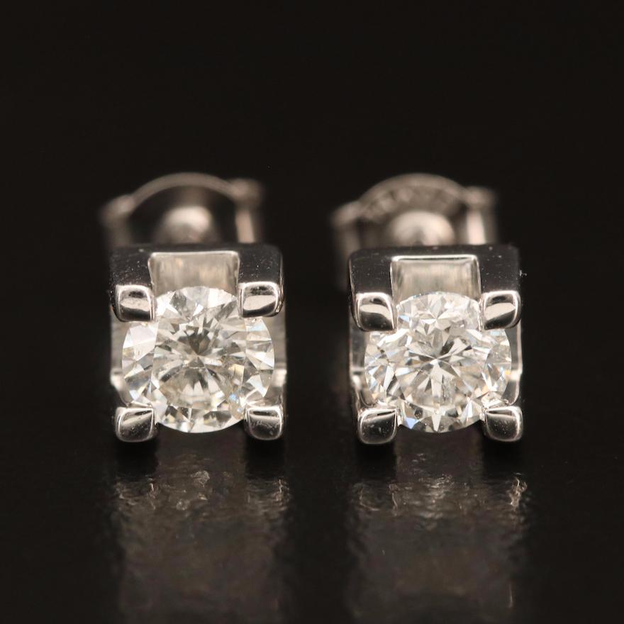 14K 0.93 CTW Diamond Solitaire Earrings