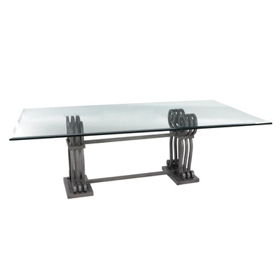 Contemporary Glass Top Dining Table on Scrolled Metal Base
