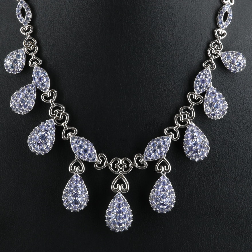 Sterling Graduated Festoon Necklace with Tanzanite