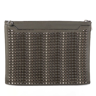 Christian Louboutin Skypouch Convertible Clutch in Studded Pebbled Leather