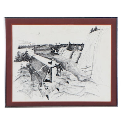 Pen and Ink Landscape Drawing of Cabin