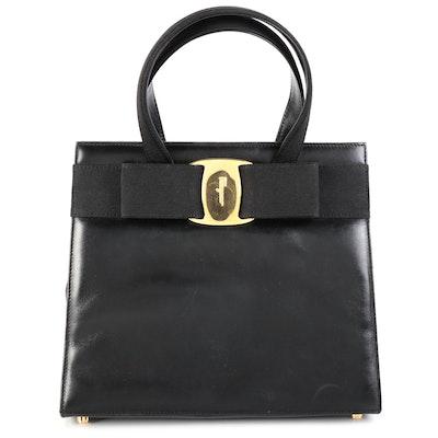 Salvatore Ferragamo Vara Bow Black Leather Handbag