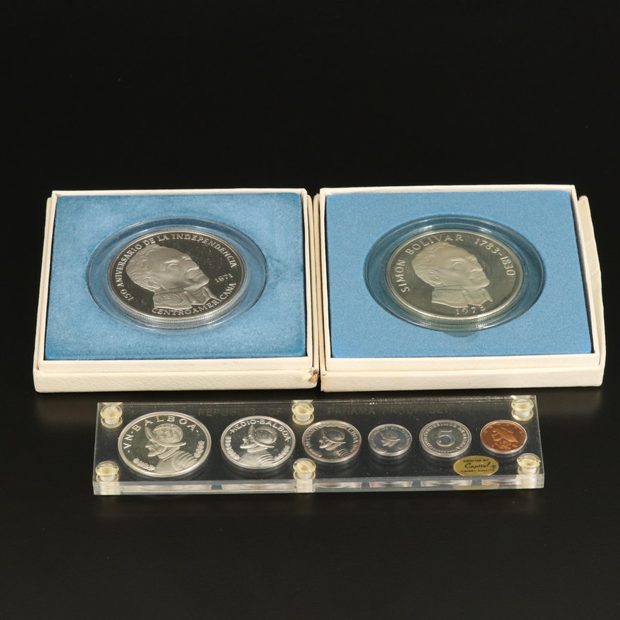 1968 Republic of Panama Proof Set and Two 20 Balboas Proof Coins