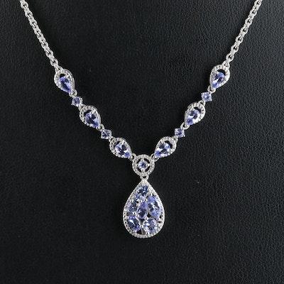 Sterling Tanzanite Teardrop Stationary Necklace