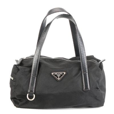 Prada Handbag in Black Tessuto Nylon and Saffiano Leather Trim