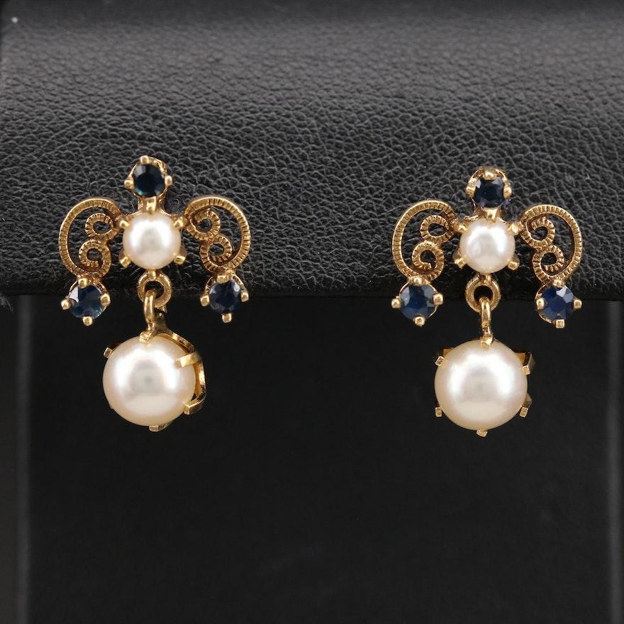 14K Pearl and Sapphire Drop Earrings