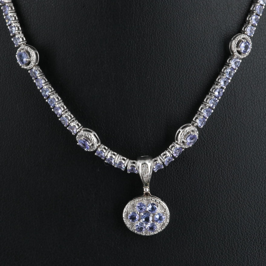 Sterling Tanzanite and Diamond Stationary and Enhancer Pendant Necklace