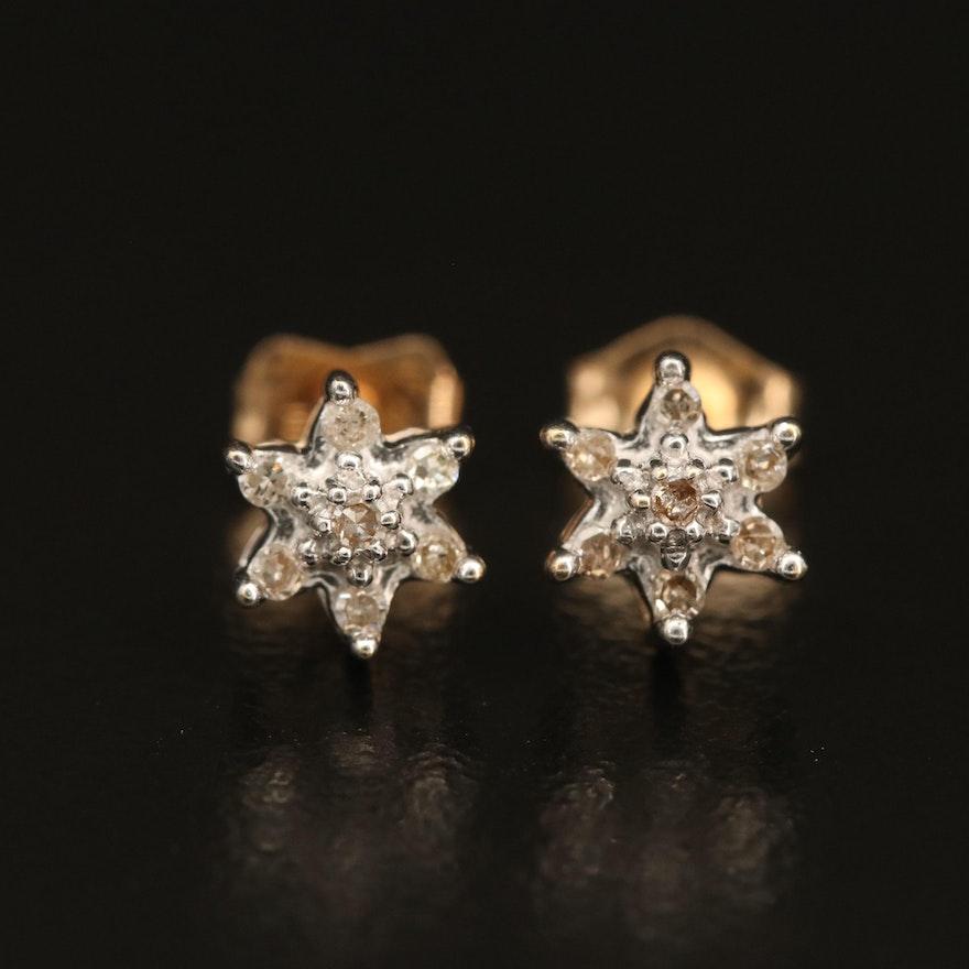 14K 0.09 CTW Diamond Star Stud Earrings