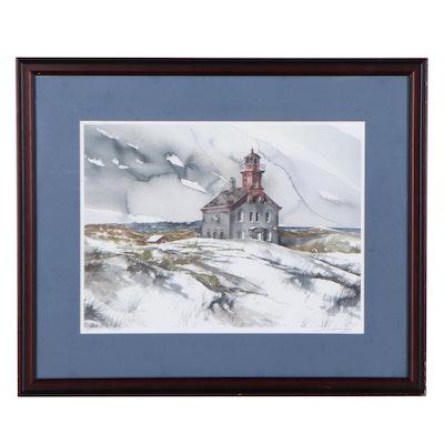 Jim Mahanes Coastal Landscape Offset Lithograph of Lighthouse
