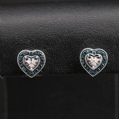 Sterling Diamond Heart Earrings with Milgrain Detail