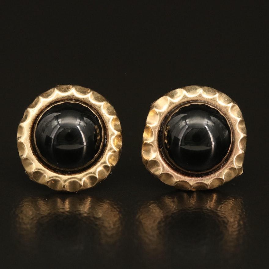 14K Black Onyx Cabochon Stud Earrings