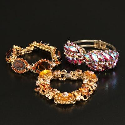 Vintage Juliana Bracelet Collection Including Clamper