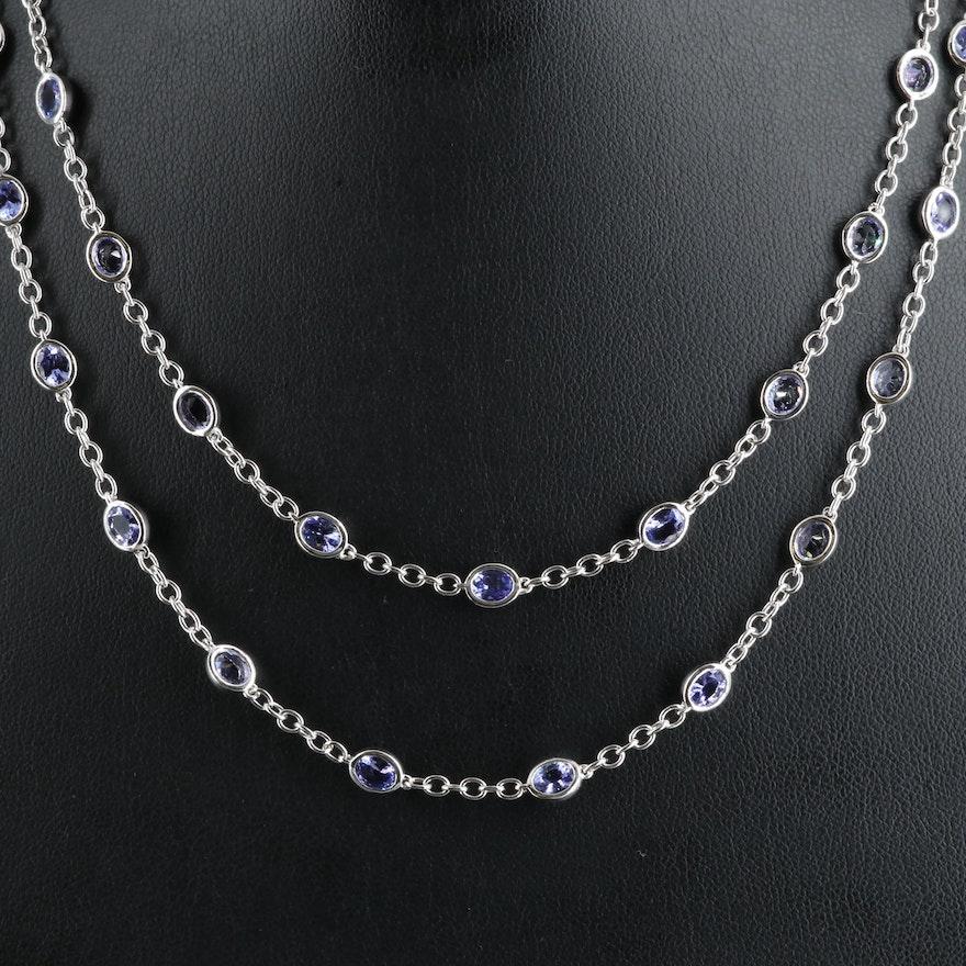 Sterling Tanzanite Bezel Station Necklace
