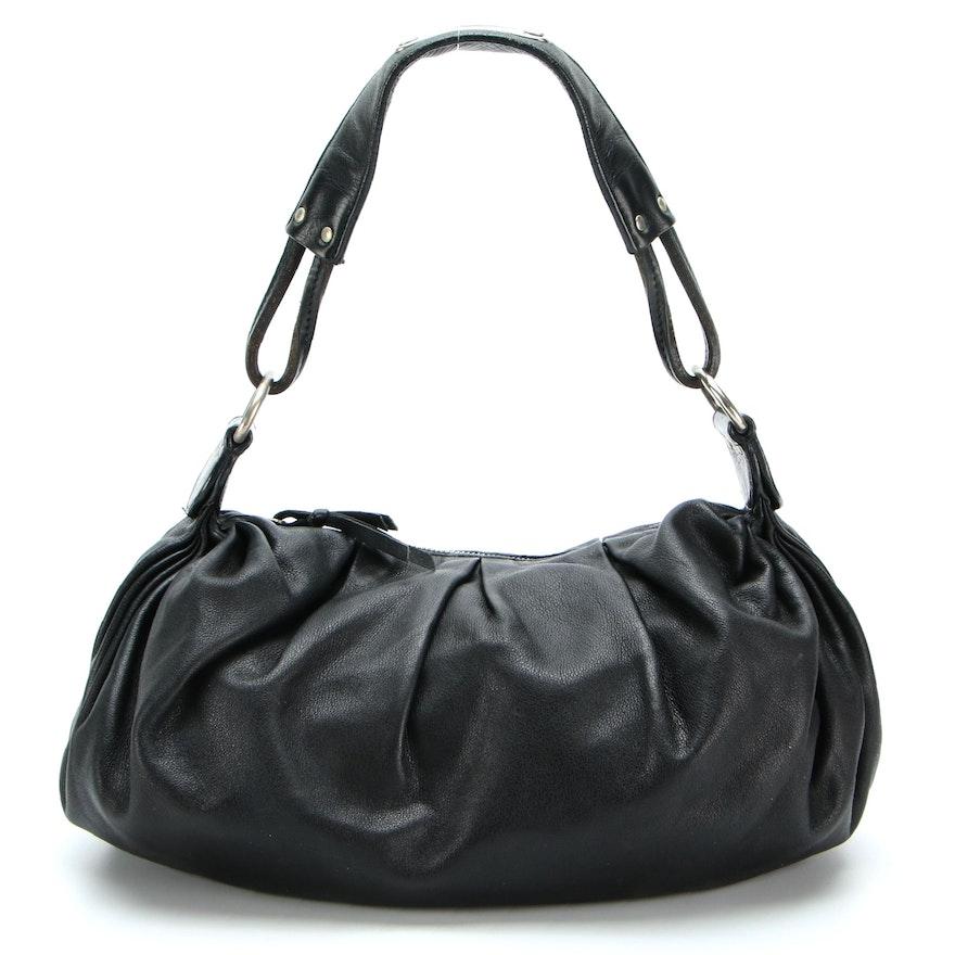 Miu Miu Pleated Shoulder Bag in Black Nappa Leather