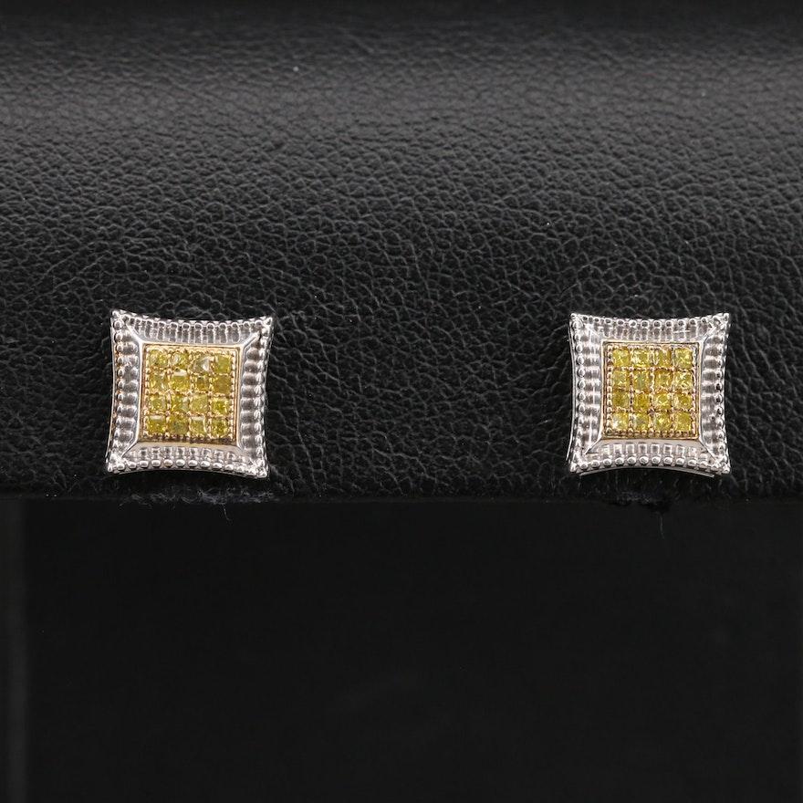 Sterling Pavé Diamond Stud Earrings