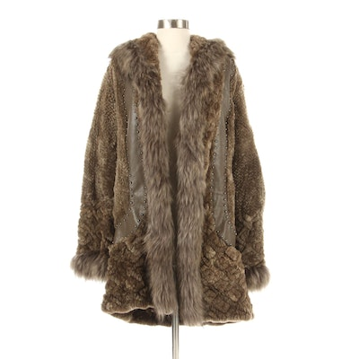 Knitted Sheared Beaver Hooded Coat with Fox Fur and Studded Leather Trim