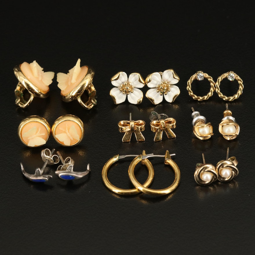 Earring Collection with Sterling Dolphin and Faux Pearl Butterfly