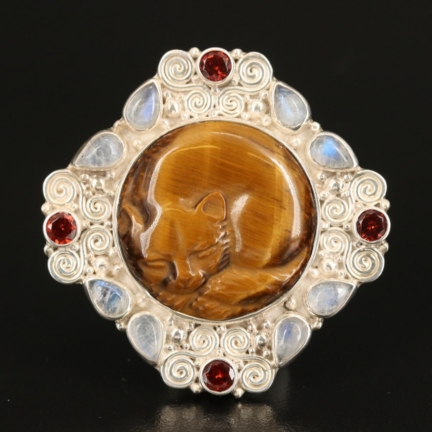 Sajen Sterling Sleeping Cat Converter Brooch with Tiger's Eye and Moonstone