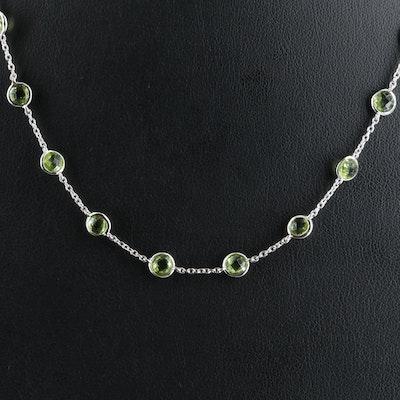 Sterling Peridot Bezel Station Necklace