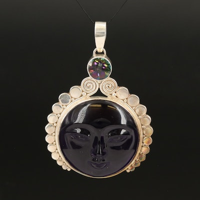 Sajen Sterling Man in the Moon Pendant with Amethyst and Mystic Topaz