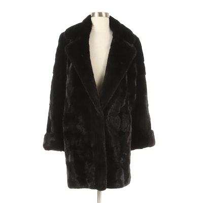 Birger Christensen Blackglama Dark Ranch Mink Fur Reversible Stroller Coat