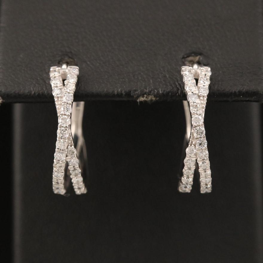 Sterling Diamond Crossover Hoop Earrings