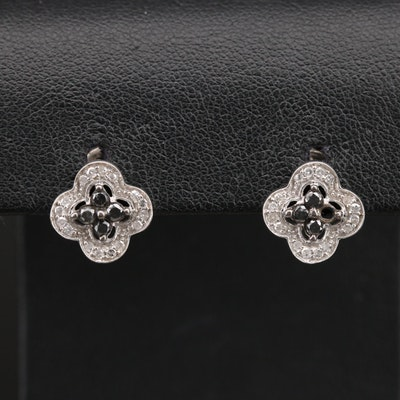 Sterling Diamond Quatrefoil Stud Earrings