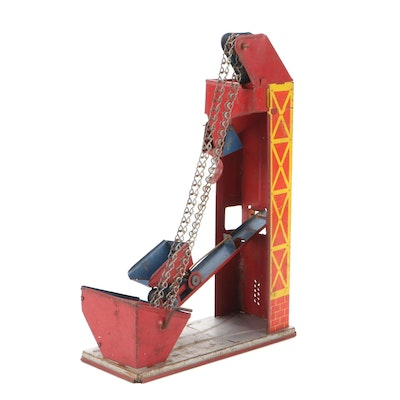 Tin Litho Coal Mine Sand Elevator Toy, Early to Mid-20th Century