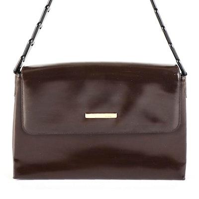 Gucci Brown Patent Leather Front Flap Shoulder Bag