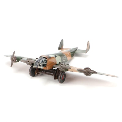 Marx Tin Lithograph Military Camouflage Wind-Up Plane, 1940s