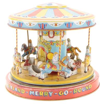 J. Chein Playland Merry-Go-Round Tin Litho Wind-Up Toy, Mid-20 Century
