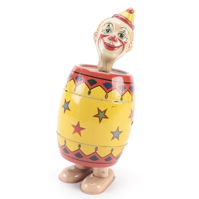 J. Chein & Co. Tin Litho Wind-Up Circus Clown in a Barrel, Mid-20th Century