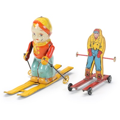 """J. Chein & Co. """"Ski-Boy"""" Tin Litho Wind-Up Toy with Other Toy Skier, Mid-20th C."""