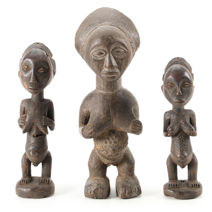 Luba Style Hand-Carved Wood Figures, Central Africa