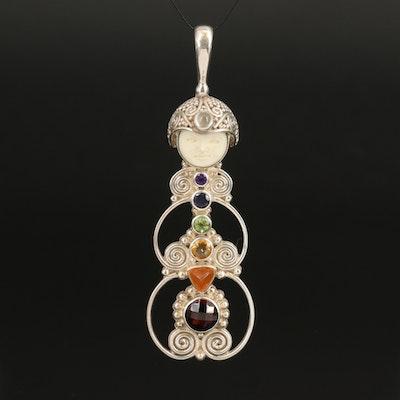 Sajen Sterling Openwork Goddess Pendant with Bone, Fire Opal and Garnet