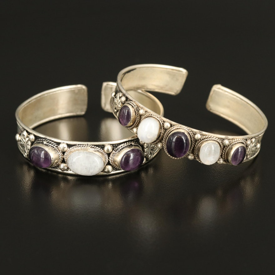 Moonstone and Glass Cuffs