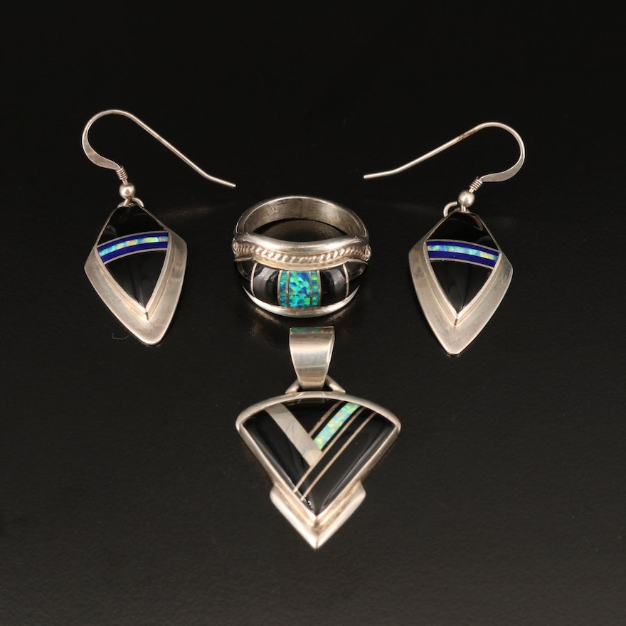 Albert Francisco and Cathy Webster Navajo Diné Black Onyx and Opal Jewelry