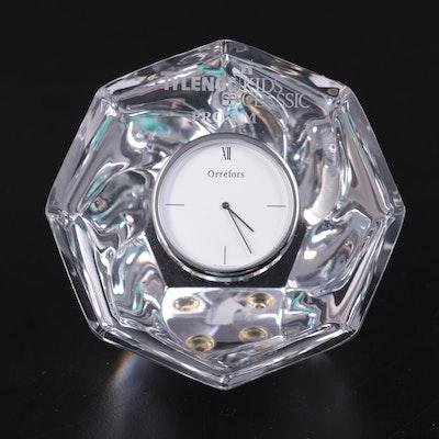 Orrefors Octagonal Crystal Desk Clock