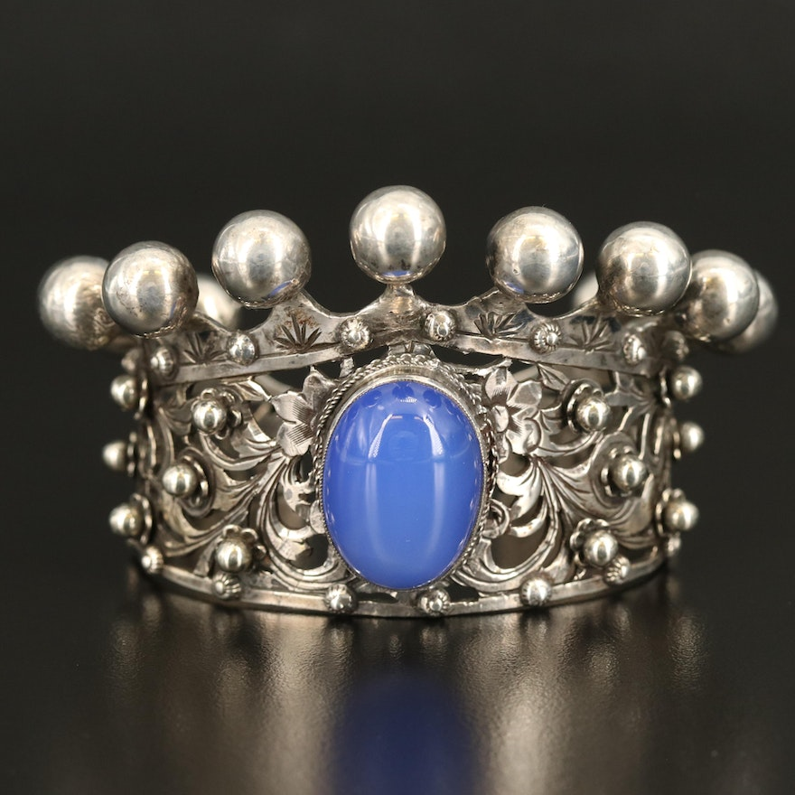 Vintage 800 Silver Chalcedony Crown Cuff with Floral Cut Outs