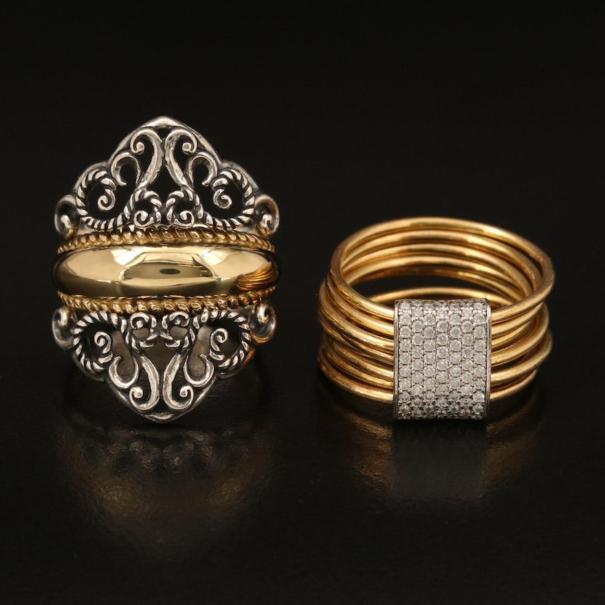 Relios Sterling and Brass Ring and Enhancer Set with Italian Sterling Ring