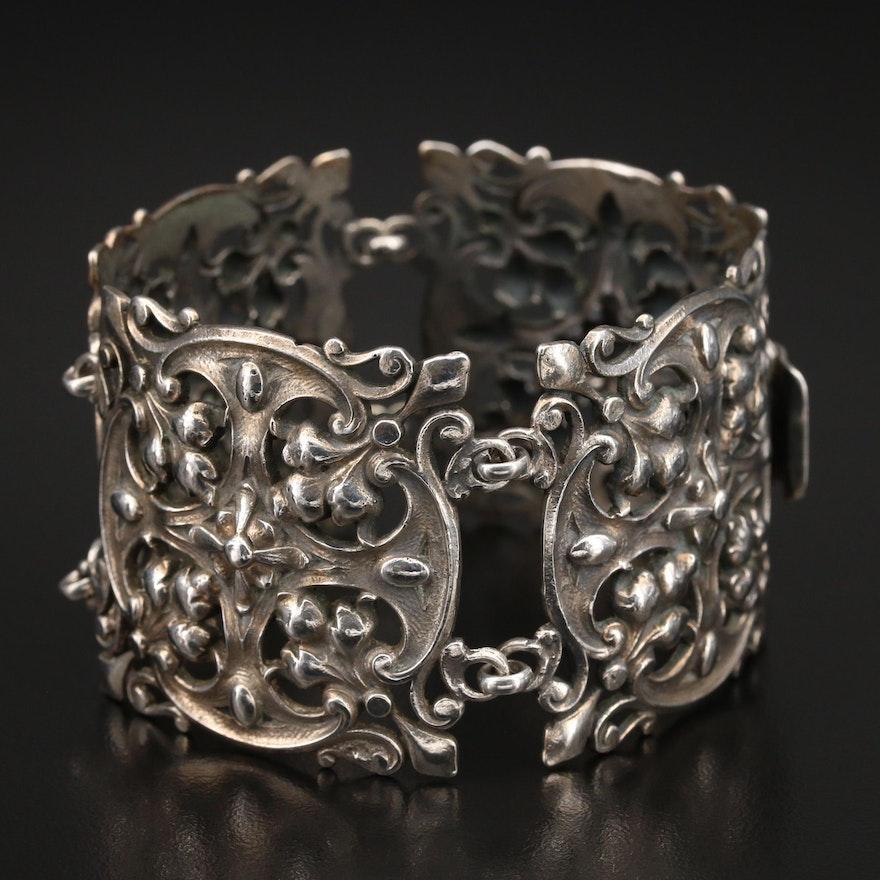 Guglielmo Cini Sterling Renaissance Revival Panel Bracelet