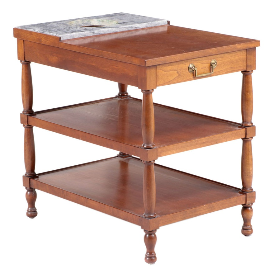 Primitive Style Cherrywood and Marble Three-Tier Side Table, Mid-20th Century