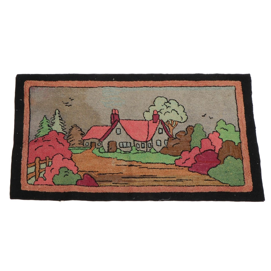 4'4 x 2'5 Hand-Hooked Pictorial Accent Rug, Mid-20th Century
