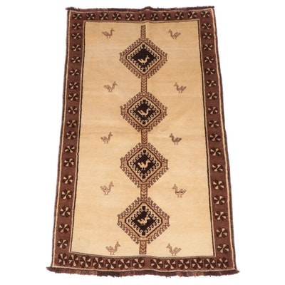 3'7 x 6'6 Hand-Knotted Persian Gabbeh Area Rug