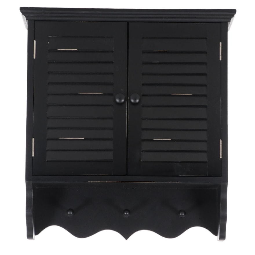 Black-Painted Wood Hanging Wall Cabinet