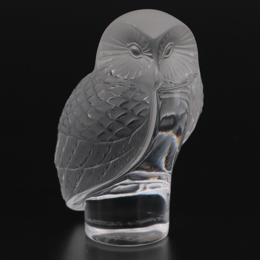 """Lalique """"Chouette"""" Crystal Paperweight"""