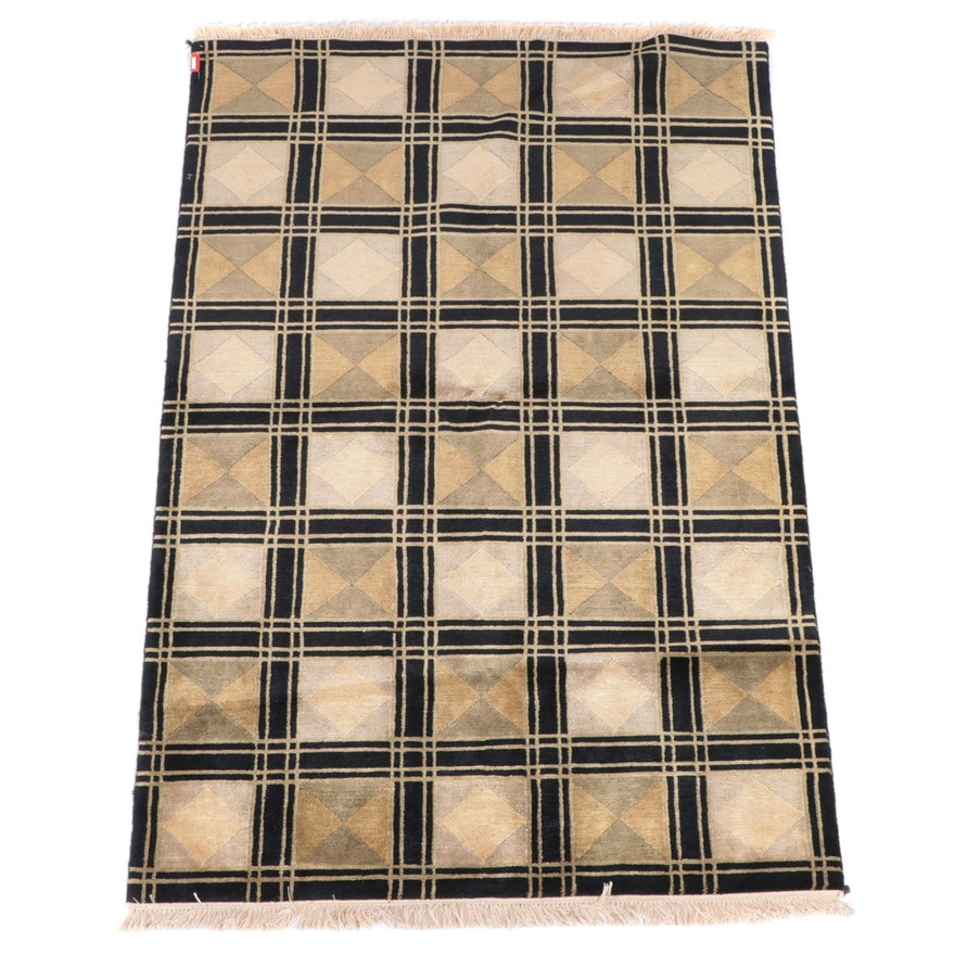 3'11 x 6'3 Hand-Knotted Indian Modern Geometric Area Rug