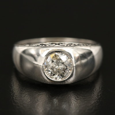 Vintage 14K 0.80 CT Diamond Solitaire Gypsy Set Ring with Scrollwork Detail