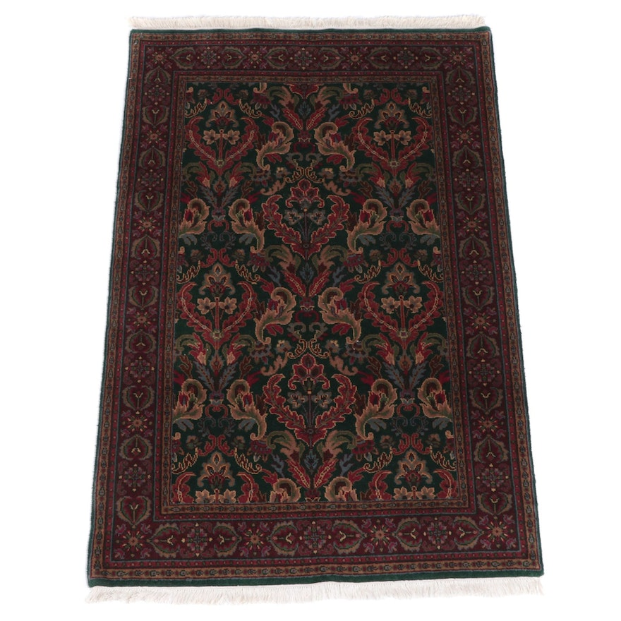 3'11 x 6'4 Hand-Knotted Indian Kashan Style Area Rug